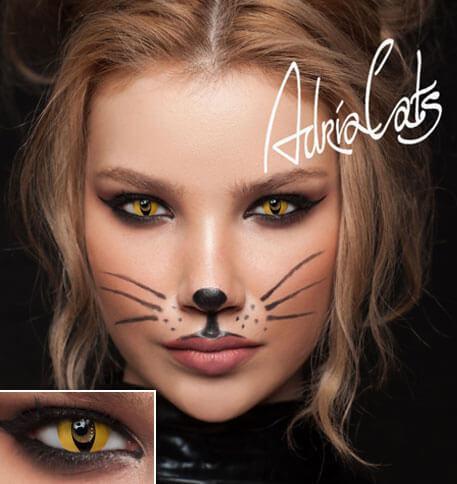 Карнавальные цветные линзы кошачий глаз Adria Crazy Yellow Cat (желтая кошка)