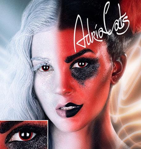 Карнавальные черные цветные линзы Adria Crazy Demon (демон)
