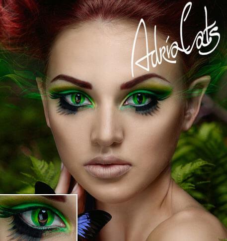 Карнавальные зеленые цветные линзы Adria Crazy Green Banshee (зеленая опасность)