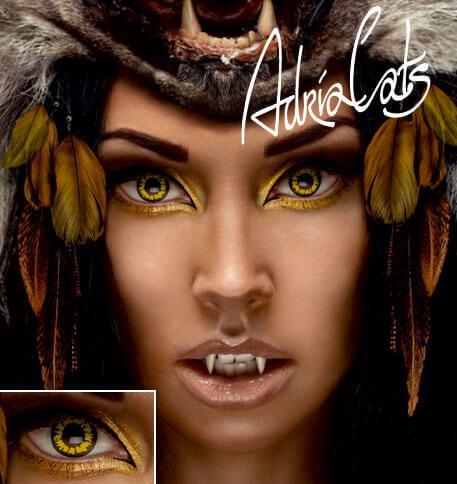 Карнавальные необычные цветные линзы Adria Crazy Yellow Wolf (желтый волк)
