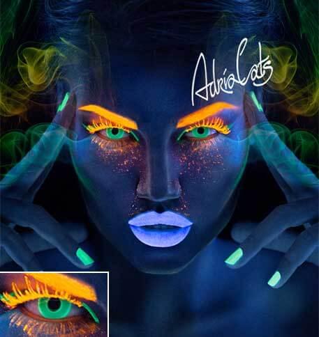 цветные линзы которые светятся в темноте Adria Neon Green (зеленый)