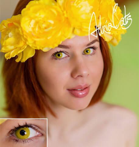 Карнавальные цветные линзы Adria Crazy Solid Yellow (сплошной желтый)